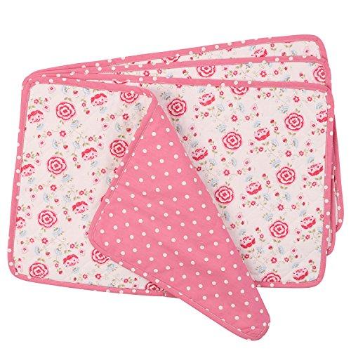 NEOVIVA Juego de 4 manteles individuales acolchados para comedor, mesa de algodón, para cena, diseño floral, color rosa