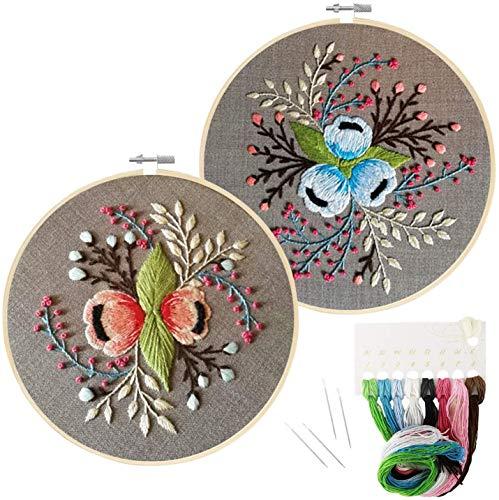 2er Pack Anfänger Stickerei Set mit Muster, gestempeltes Stickset inklusive Stickerei mit Muster, Bambus Stickrahmen, Farbgewinde Nadel Kit