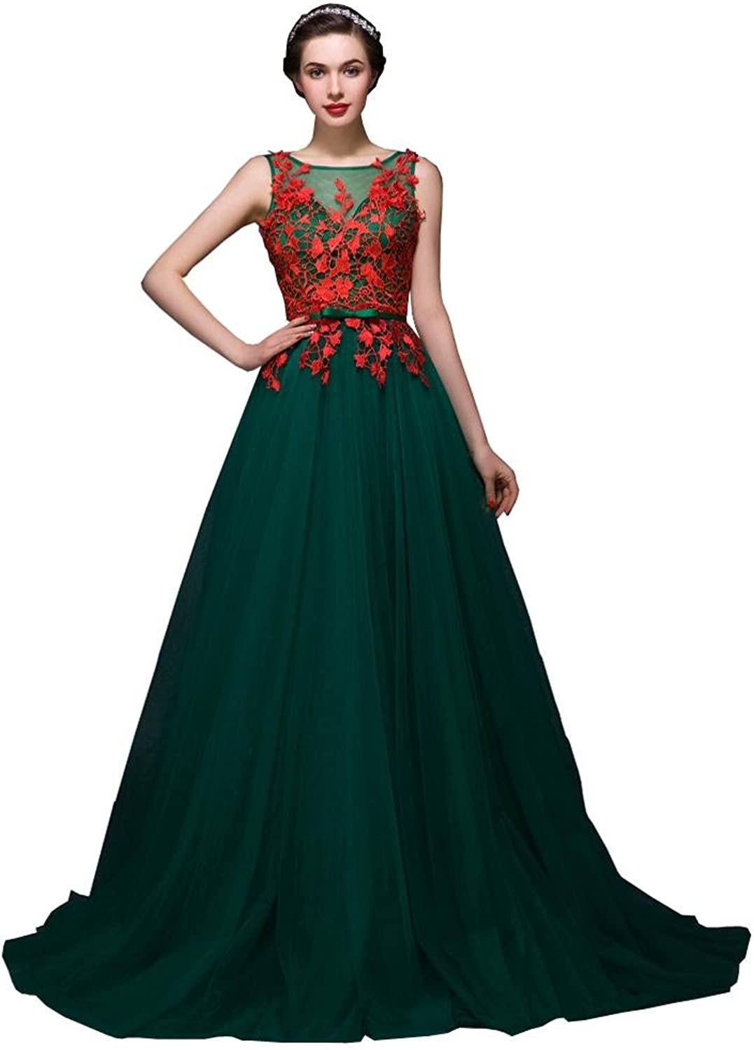 BeautyEmily Lace Hollow Out Sleeveless V Neck Evening Dresses