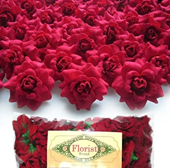 100  Silk Red Roses Flower Head - 1.75  - Artificial Flowers Heads Fabric Floral Supplies Wholesale Lot for Wedding Flowers Accessories Make Bridal Hair Clips Headbands Dress