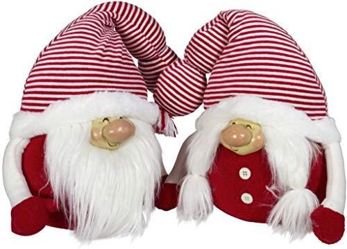 Brandsseller Deko Weihnachts Gnom Pärchen Set Mann und Frau ca. 32 cm Hoch Wichtel Stoff Kobold Zwerg Paar Türstopper Rot/Weiß