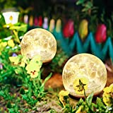Globe Solar Lights Outdoor Garden 2 Pack, Crackle Glass Ball Waterproof Warm White LED for Outdoor Decor Decorations Yard Pathway Patio Lawn