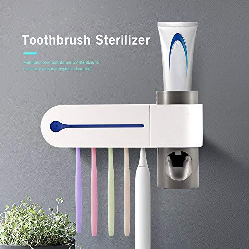 NOTSEK Portaspazzolino UV, Sterilizzatore per Spazzolino UV Dispenser per Dentifricio a Parete Portaspazzolino Automatico Portaspazzolino con Adesivo (Genere-2)