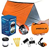 Survival Tent Emergency Shelter with Titan Paracord For 2 Person Tent Emergency Sleeping Bag like Tube Tent Includes Survival Whistle, Survival Lamp for Hiking in Waterproof Pouch, Outdoor and Camping