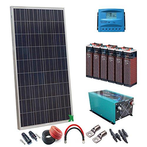 Kit Solar 12v 900W/4500W día Regulador de carga PWM 60A Batería 5OPzS 525Ah Inversor 3000w onda pura
