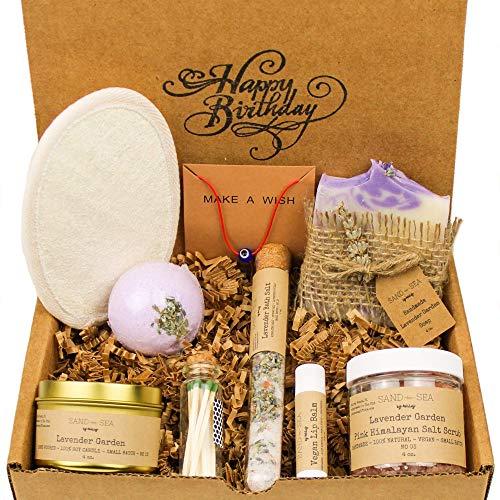 Birthday Gift Baskets for Women - Handmade Lavender Spa Gift Set - Natural Relaxing Spa Self Care Package for Women 9 pc - Soap, Soy Candle, Himalayan Salt Scrub, Bath Bomb, Bath Salt, Vegan Lip Balm