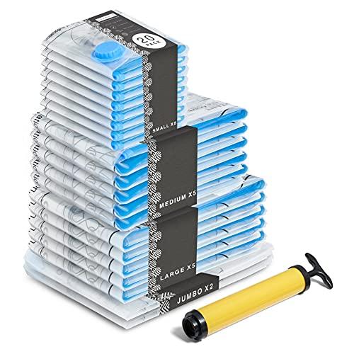 BRAMBLE! 20 Sacchetti Sottovuoto Salvaspazio Premium con Pompa - 80% più Spazio