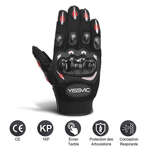 Yissvic Gants Moto Homologués CE 1KP Gants Scooter Été à Écran Tactile Plein-doigt Anti-Glissant Anti-Usure Noir Taille L 23-25cm [Version Améliorée]