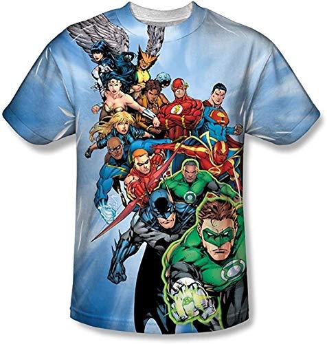 Amacigana Camiseta de la Liga de la Justicia de DC Justice Dibujos Animados 3D adecuada para deportes, fiestas de baile, cafeterías, escuelas, Otaku multicolor XL