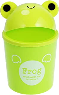 Toyvian Mini Trash Can with Lid - Cute Animal Desktops Trash Can, Rubbish Storage, Garbage Bin for Office Kids Bedroom Use (Frog)