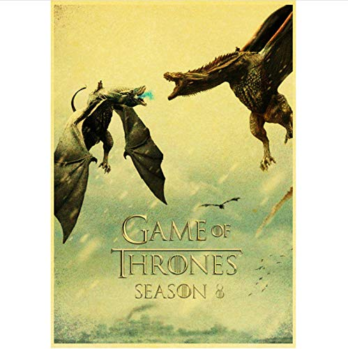 qiaolezi Print On Canvas Game of Thrones Season 8 Poster 2019 New Movie Vintage Posters Art Retro Wall Pictures For Living Room Decor A978 50×70CM Without Frame