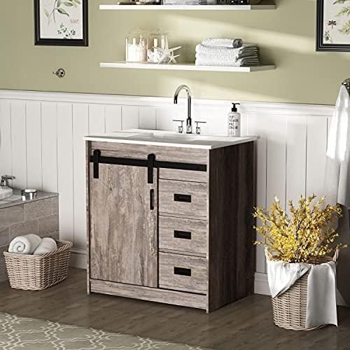 "FOGUID Bathroom Vanity with Sink, Wood Bathroom Cabinet No Faucet Rustic Brown (29.9""L x 18.8""W x 33.8""H)"