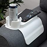 ZOOKINEH Silicone Cup Holder Tray for Arm Chair Couch Caddy Sofa Recliner - Anti-Slip Armrest Remote Control and Cellphone Organizer Holder (2. White)