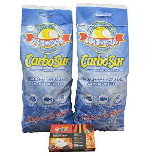 Carbón Vegetal Especial Barbacoas + pastillas de encendido rápido, practico y limpio 2 Bolsas de 3,1 kg und. carbón Duradero, Resistente y Alto Poder calorífico para barbacoas y cocinas