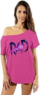 Awkwardstyles Women's RAD Galaxy Logo Off Shoulder Tops T-Shirt + Bookmark