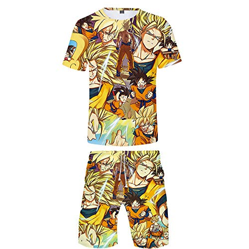 GMANKEE Casual Camisetas Pantalones Cortos Y Mangas Cortas Deportes Ocio Pijama T-Shirt Ropa De Salón Ropa Hombre Pijamas Mujer Dragon Ball Goku Anime Ropa,3XL