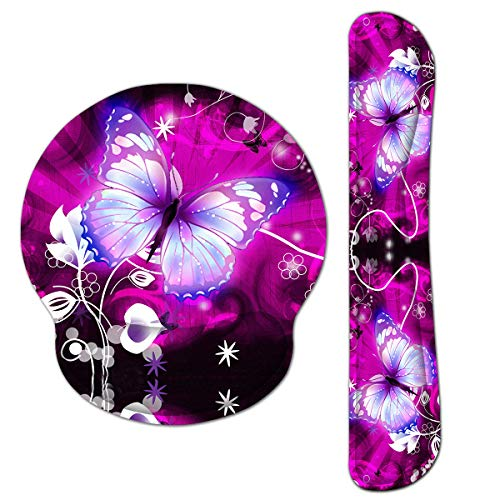Keyboard Mouse Pad Wrist Rest, Gel Ergonomic Wrist Rest Support Mousepads,Non Slip Rubber Base Wrist Support with Memory Foam for Laptop Computer Home Office Work, Durable Comfortable,Purple Flowers