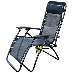 Marko Outdoor Black Reclining Zero Gravity Sun Lounger