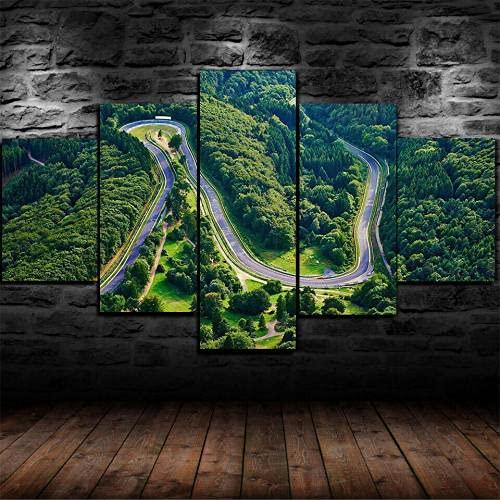Cuadro en Lienzo 5 Pieza impresión Lienzo artística Pintura Diseño Cuadro Moderno Pared gráfica Nurburgring Track Circuit Rally Enmarcado