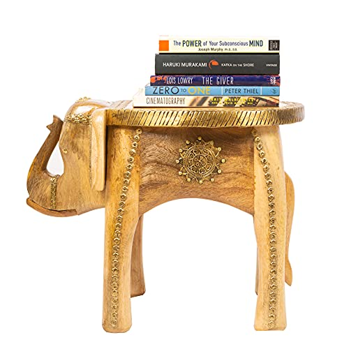 Rosmonte - Hand Carved Wooden Coffee Table - Wooden Elephant Side Table with Brass Column Accents -...