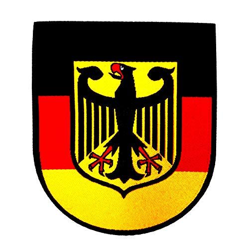 Deutschland Patch Aufbügler mit Spezial-Klebstoff einfach aufbügeln I Aufnäher Abzeichen Adler Germany Deutsch Flagge Fahne Bundeswehr Bund Armee Army Zeichen Shirt Jacke Cap T-Shirt Pullover Tarn