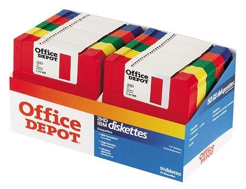 "Office Depot(R) 3 1/2"" Bulk Diskettes, IBM(R) Format, DS/HD, Rainbow, Box of 50"