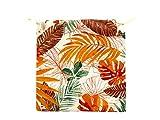 TIENDA EURASIA® Pack de 4 Cojines para Sillas - Estampado Plantas Tropical - 2 Cintas de Sujeción - Ideal para Interiores y Exteriores - 40 x 40 x 3 cm (Color)