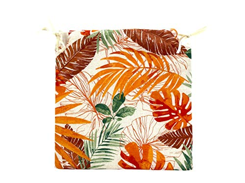 TIENDA EURASIA Pack de 4 Cojines para Sillas - Estampado Plantas Tropical - 2 Cintas de Sujeción - Ideal para Interiores y Exteriores - 40 x 40 x 3 cm (Color)
