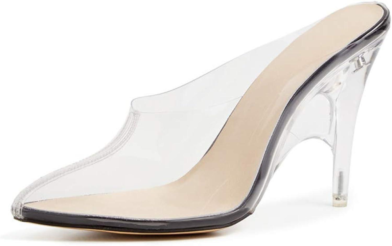 T -JULY Kvinnor Pumpar Pumpar Pumpar Mulor PVC Transparent sommar skor glider på högklackade skor för tåparti  allt i hög kvalitet och lågt pris