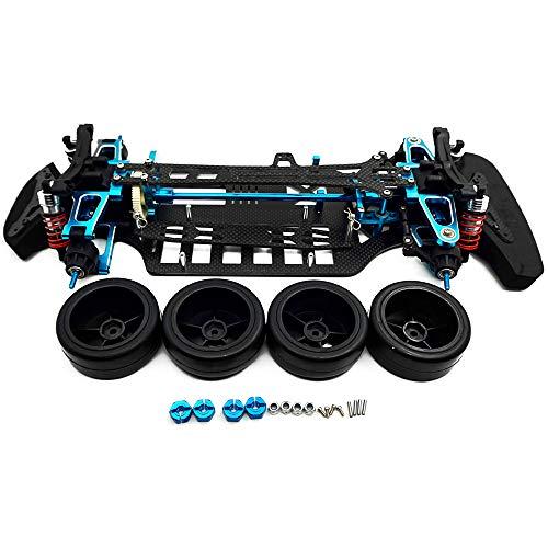 AXspeed Aluminium & Carbon Shaft Drive 1:10 Tourenwagen-Chassis-Rahmen-Kit mit 4 Rädern für TT01 TT01E
