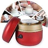 Kacsoo Mini Macchina per Ceramica Macchina per Ceramica Elettrica 1500 RPM Ruota per Ceramiche Elettrica Strumento per Argilla Fai-da-Te con Vassoio per Adulti Bambini Arte Ceramica (rosso)