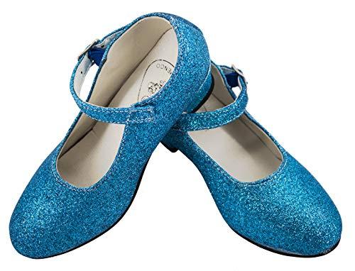 Gojoy shop- Zapato con Tacón de Danza Baile Flamenco o Sevillanas para Niña y Mujer, 5 Colores Disponibles (P- Azul Clara, 29)