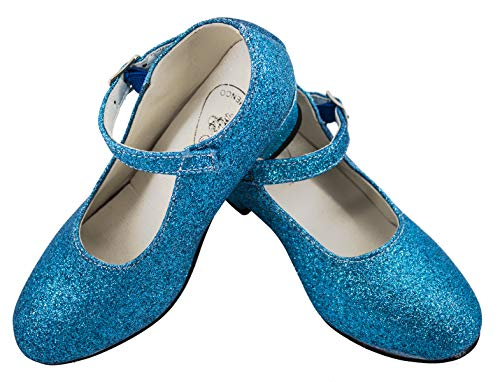 Gojoy shop- Zapato con Tacón de Danza Baile Flamenco o Sevillanas para Niña y Mujer, 5 Colores Disponibles (P- Azul Clara, 28)