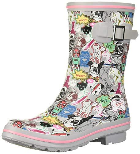 Skechers BOBS Women's Check-Mixed Media Print rain Boot, Gym, 7 M US