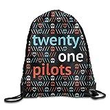 Ccsoixu American Band Twenty One Pilots Drawstring Backpack Sack Bag/Travel Bags,Drawstring Bag Sport Gym Backpack Gym Bag for Men and Women