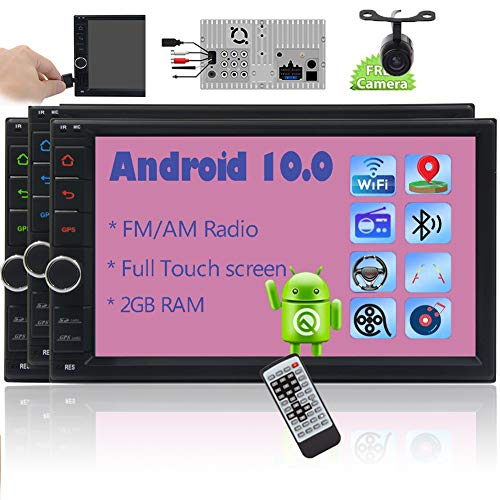 EINCAR Android 10.0 Touch Screen Car Stereo Car Radio with Bluetooth 2 Din GPS Navigation 7 Inch in Dash HD video Player Double Din support WiFi/4G Mirror Link AM FM RDS SWC 1080P 2GB Backup Camera