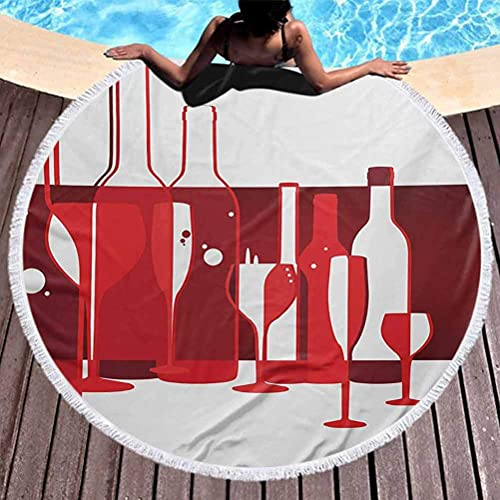 Tapiz redondo para playa, vino, tapete redondo para picnic, diseño artístico moderno, para fiestas, bebida, producto con pantalla abstracta para viajes, gimnasio, camping, rojo, borgoña, blanco (diáme