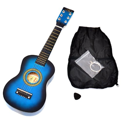 Ts-Ideen 5203 Kinder Gitarre Spielzeuggitarre aus Holz ab 3 Jahre mit Tasche und Ersatzsaiten blau