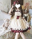 ZOULME Vestido de Lolita para Mujeres niñas Novia, Kawaii gótico japonés Dulce Lolita Vestido Vintage Encaje Bowknot Vestido de Cintura Alta Lolita loli Vestido de Manga Corta