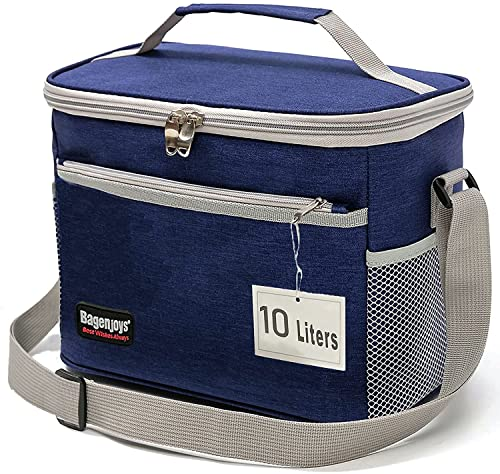 Lunch Bag 10L,Insulated Lunch Box for Men/Women,Reusable Cooler or Warmer Lunch Bags for Adults/Kids,Leakproof Lunch Bag Box for Office School Picnic Beach-Blue