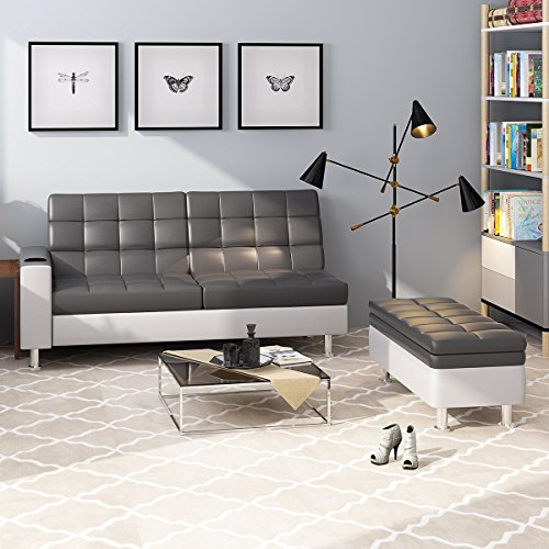 Wellgarden Deluxe Faux Leather Corner Sofa Bed Recliner Sofabed 3 Seater Storage Sofabed Couch with Ottoman Foot Stool and Cup Holder New Grey and white