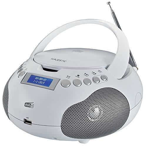 Majestic AH-265 Dab Boom Box Portatile con Radio Dab/Dab+/FM Stereo, Lettore CD/MP3, ingressi USB/AUX-in, Bianco