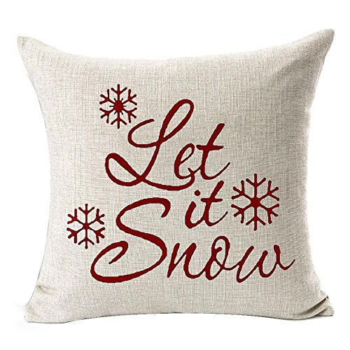 SODIAL(R) Let It Snow Beautiful Snowflakes Merry Christmas Gifts flax Throw Pillow Case Cushion Cover Home Office Living Room Decorative Square 18 X 18 inch:Beige + red