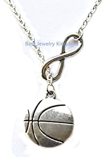 Basketball Necklace - Basketball Pendant & Chain,Silver Infinity Necklace, Infinity Necklace Best Gift Pendant Necklace,Simple Necklace, Everyday Jewelry,Charm Necklace