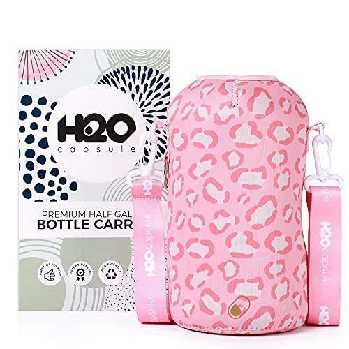 H2O Capsule Half Gallon Water Bottle Holder with Strap Water Bottle Carrier with Shoulder Strap (Patent Pending) - Neoprene Water Bottle Sleeve for Large 2.2 Liter/74oz Drink Bottle (Pink Leopard)