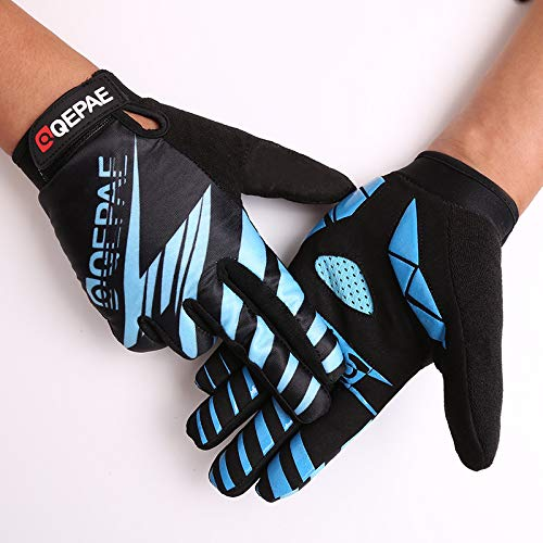 Guantes de Ciclismo de Dedo Completo de Silicona Transpirable al Aire Libre para Mujer Guantes de Equipo Deportivo masculino-azul-M-B235