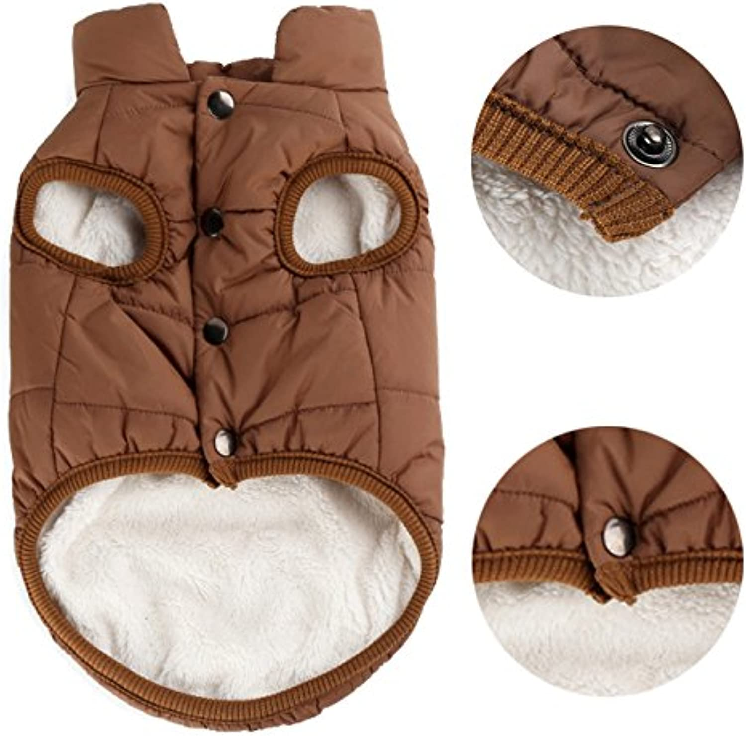 PENIVO Pet Dogs Clothing, Winter Warm Coats Jackets Small Medium Large Dogs CottonPadded Two Feet Clothes (M, Brown)
