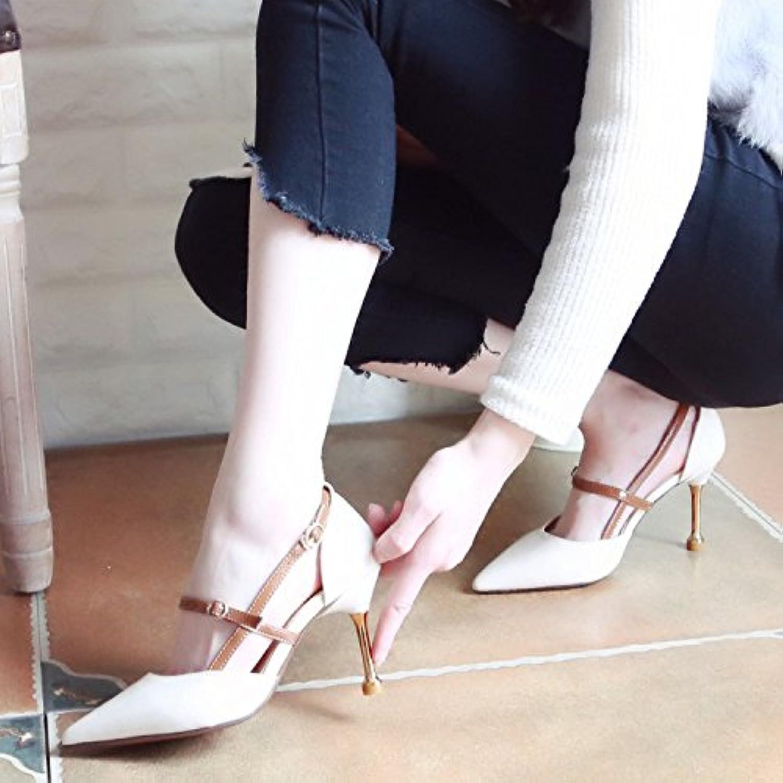 Xue Qiqi Pumps Sandalen Schuhe Geschlitzten Lasche Frauen Schuhe mit Hohen Abstzen und Stilvolles Licht Spitze Schuhe Fein mit Einzelne Schuhe