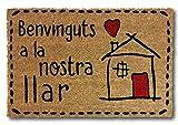 koko doormats Felpudo para Entrada de Casa Original y Divertido, Fibra Natural de Coco con Base de PVC, 40x60 cm (Benvinguts)