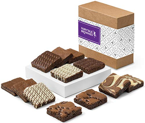 Fairytale Brownies Nut-Free Brownie Dozen Individually Wrapped Gourmet Chocolate Food Gift Basket - 3 Inch Square Full-Size Brownies - 12 Pieces - Item CF122